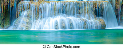 Deep forest Waterfall in Kanchanaburi, Thailand - Deep...