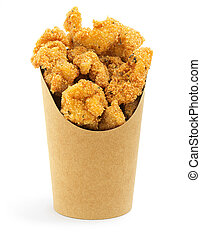 deep fried chicken in a paper box on white background