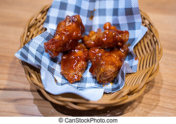 deep fried chicken with spicy sauce