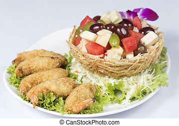 Deep fried Shrimp fruit salad