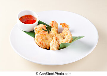 Deep Fried Shrimps and sauce