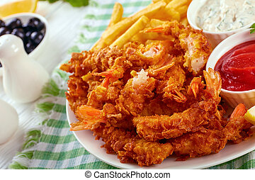 deep fried shrimps with french fries
