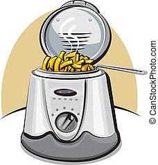 deep fryer and chips