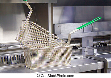 Deep fryer for potatoes and nuggets. New clean empty kitchen. Equipment made of food stainless steel. Baskets for fryer. Concept fast food restaurant.