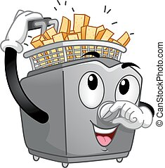 Deep Fryer Potato Mascot - Mascot Illustration of a Deep...