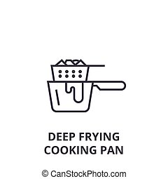 deep frying cooking pan line icon, outline sign, linear...