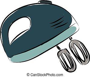 Deep green kitchen mixer vector illustration on white background