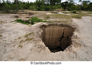 deep hole in the ground