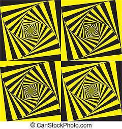 Deep hypnotic spirals on yelow and black