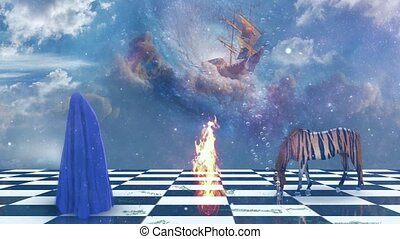 Striped horse and human figure covered by blue cloth - Deep ...