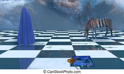 Deep Imaginative scene. Striped horse and human figure ...