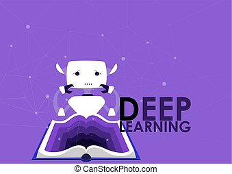 Deep learning algorithms of artificial intelligence, concept. Unsupervised learning. Cyber brain, cute robot