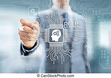 Deep Machine learning Artificial intelligence AI technology concept on virtual screen