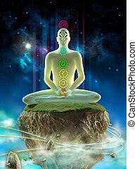 Deep meditation - Man meditating in an imaginary landscape. ...