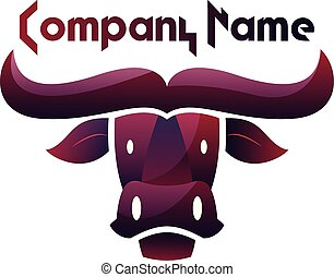 Deep purple bull head vector logo design on white background