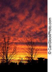 Deep Purple Sunrise with Silhouette