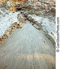 Deep ravine in the sand