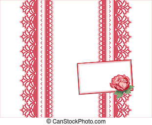 Deep Red Rose, Vintage Lace Gift