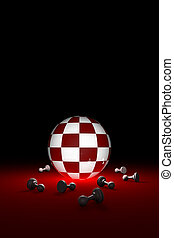 Deep rest (chess metaphor). Vertical image. 3D render illustration. Free space for text.