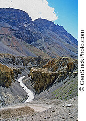 deep river canyon in indian himalayas oil paint stylization