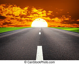 Deep road. - Big red sun and deep road. Element of design.