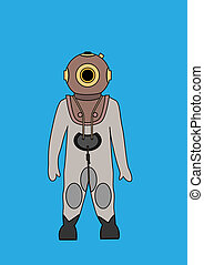 Deep Sea Diver Bitmap Background - vector illustration of a...