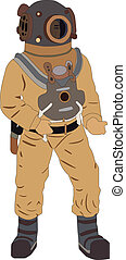 deep sea diver on white background