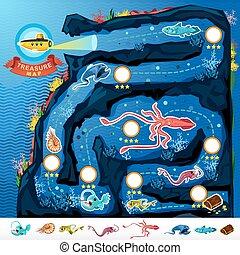 Deep Sea Exploration Treasure Game - Treasure Game Map Of...