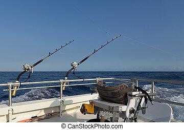 Deep sea fishing in Hawaii on boat