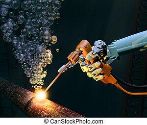 Deep sea maintenance - Deep sea repair work on a corroded...