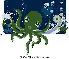 Deep sea Octopus and jellyfish