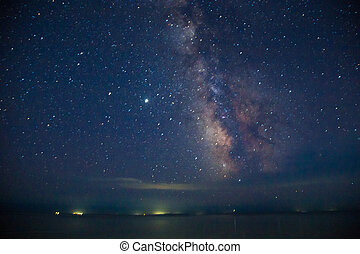 Deep sky astrophotography. Milky Way over the sea.