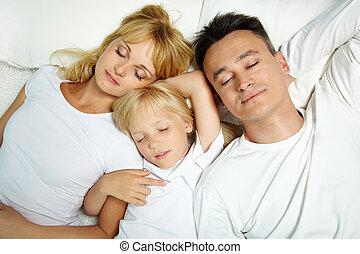 Deep sleep - Portrait of calm family sleeping