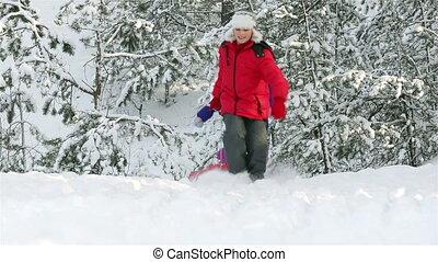Deep Snow - Cheerful kids running through deep snow