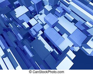 Deep solid structure - Infinite random blue boxes - digital ...