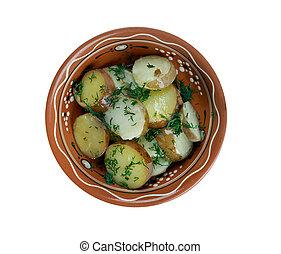 Deep South German Style Potato Salad. close up