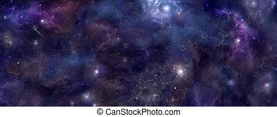 Deep Space banner background - Wide panel of outer space...
