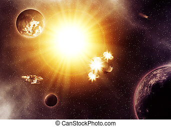 Deep space nebula - Far deep space fantasy nebula with...