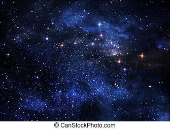 Deep space nebulae - Large clouds of gas glowing deep in...