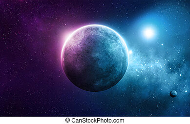 Blue and pink planet with two suns in deep space