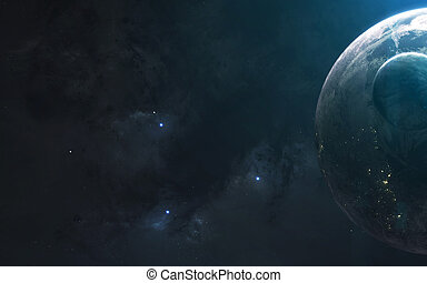 Deep space planets, awesome science fiction wallpaper, cosmic landscape. Elements of this image furnished by NASA