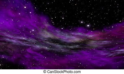 Deep Space, Ultra Violet Nebula, Star Fields and Rays of...
