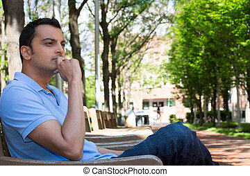 Deep thinker - Closeup portrait, young man in blue shirt, ...