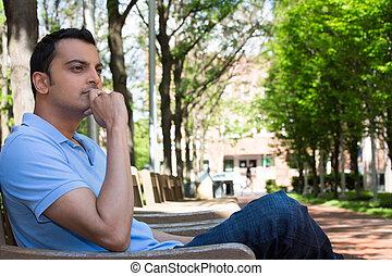 Deep thinker - Closeup portrait, young man in blue shirt,...