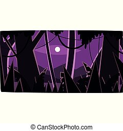 Deep tropical jungle with wood silhouettes and moon, beautiful tropical forest background at night vector illustration