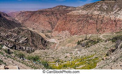 Deep Wadi Dana canyon in Dana Biosphere Reserve, Jordan