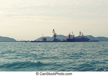 Deep water port in the sea.