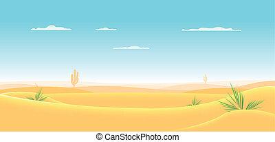 Deep Western Desert - Illustration of a cartoon desert...