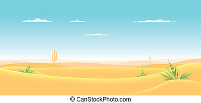 Illustration of a cartoon desert landscape going deeply toward horizon