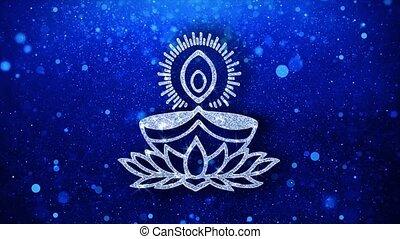 Deepak Diya Lamp Element Blinking Icon Particles Greetings,...